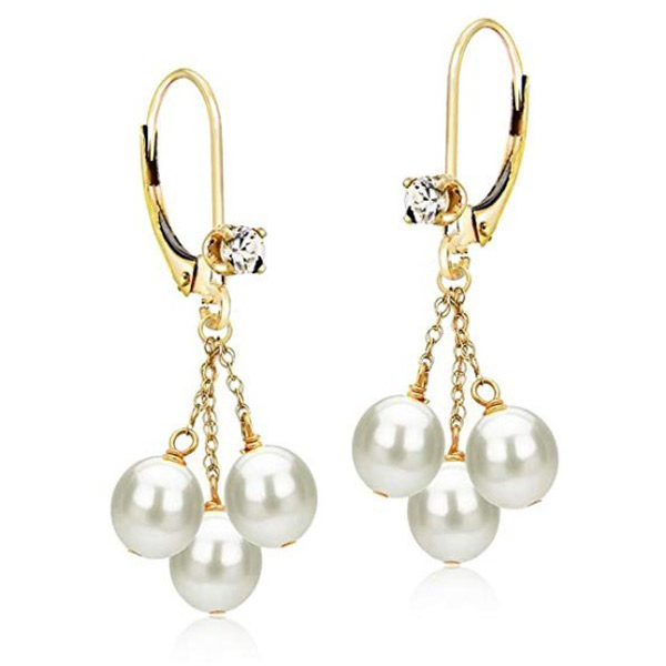 Pearl earrings front view