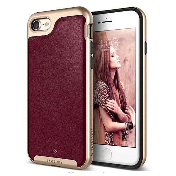 Side View - Cherry Oak iPhone Luxury Premium Leather Case