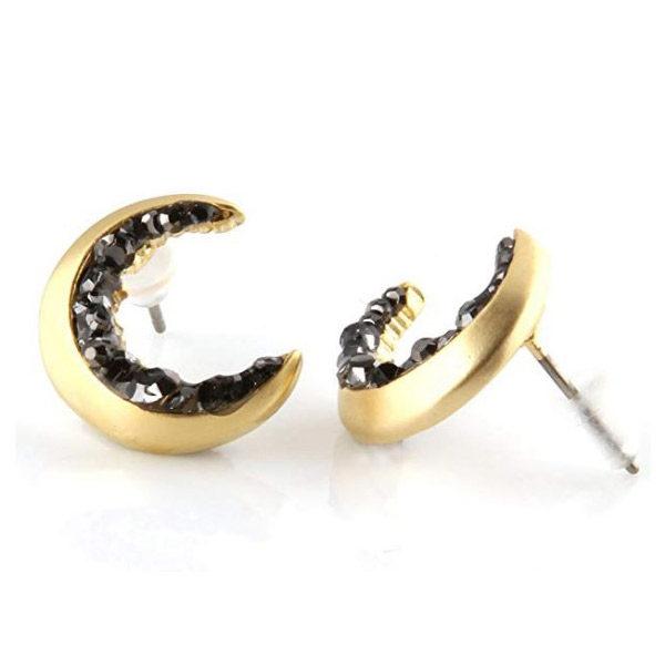 Moon earrings side view
