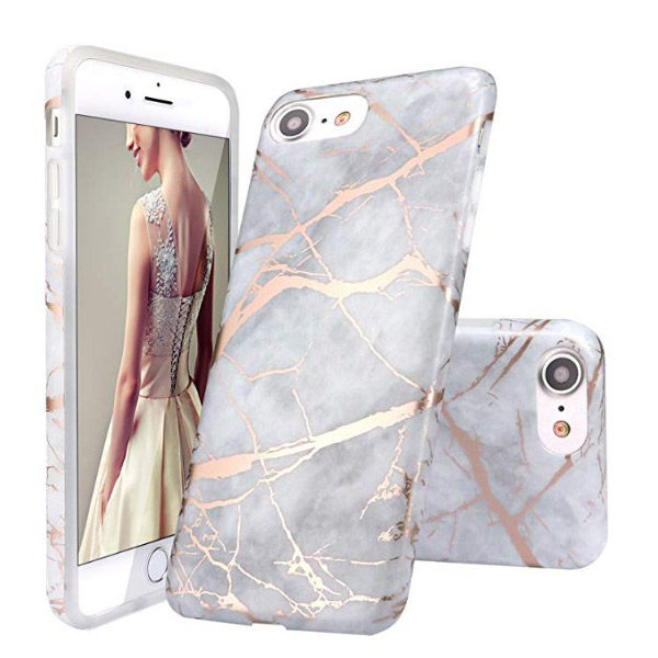 Front View - iPhone Gray Shiny Rose Gold Marble Design Case