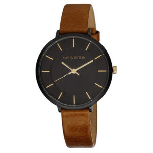 Front View - Ray Winton Brown Genuine Leather Band Watch