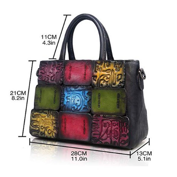 Side view of stitched handbag