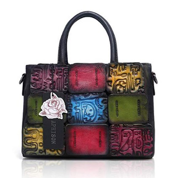 Front view of stitched purse