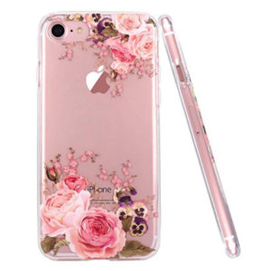 Front View - JAHOLAN Floral Design Clear Slim Flexible Silicone Cover