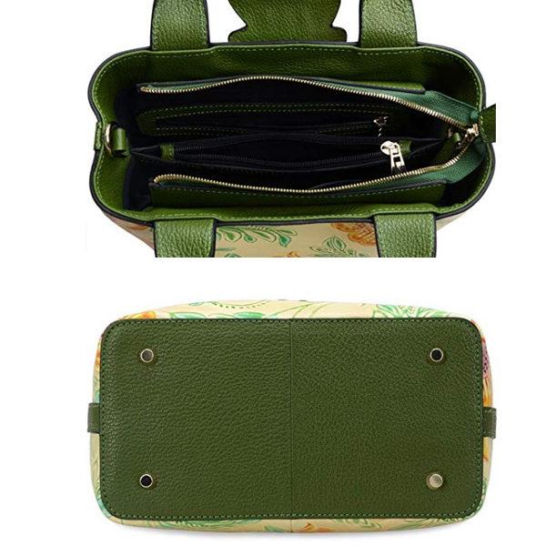 Top and bottom view of handbag