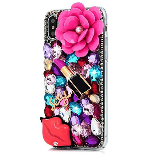 Pink iPhone X Pearl Floral Lipstick Fashion Case