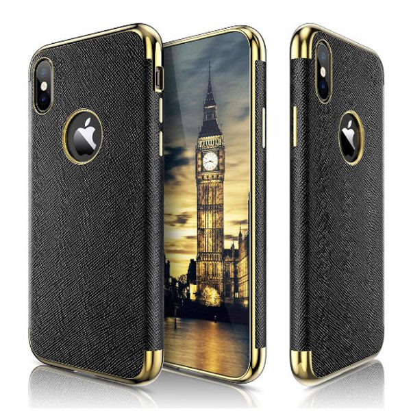 Front/Back/Side View - Luxury iPhone X/XS Premium Leather Coated Case