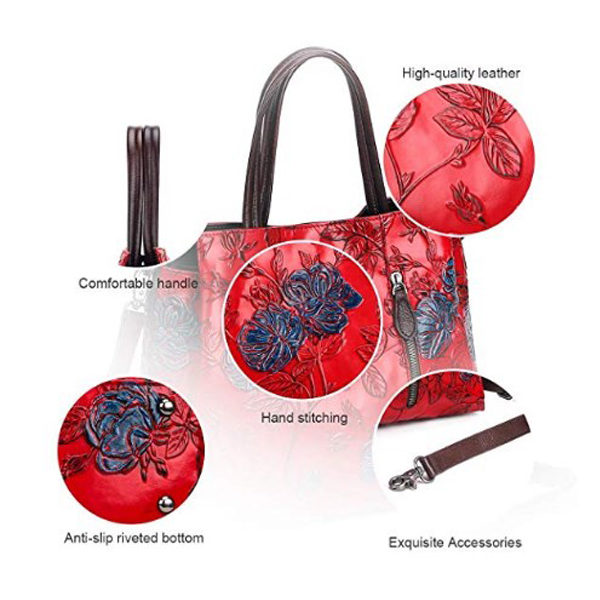 Detailed view of red handbag
