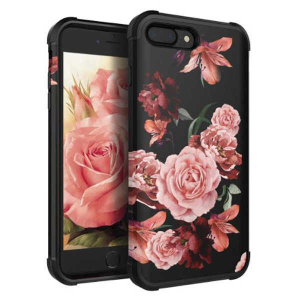 Front/Back View - iphone 7plus/8plus Luxury Black Flower Case