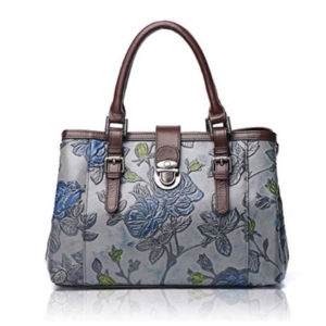 Front view of floral handbag