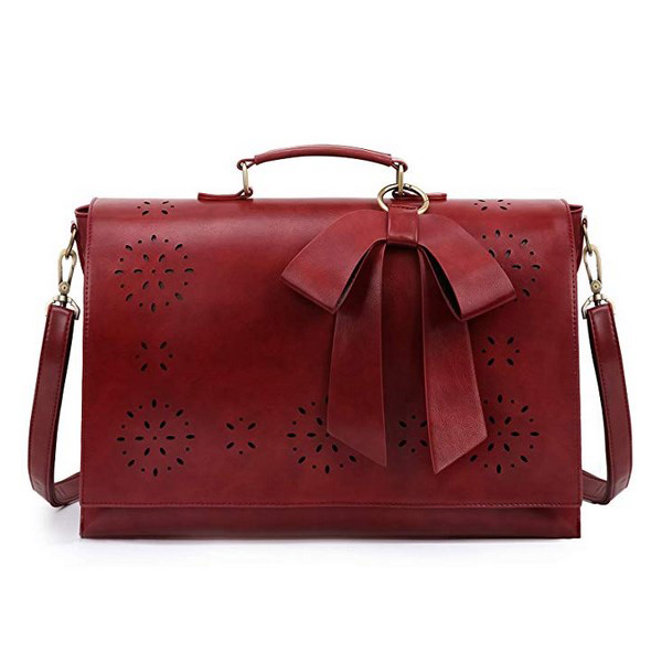PU Leather Shoulder Handbag with Bow