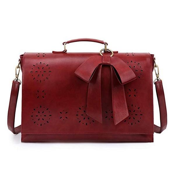 PU Leather Shoulder Handbag with Bow