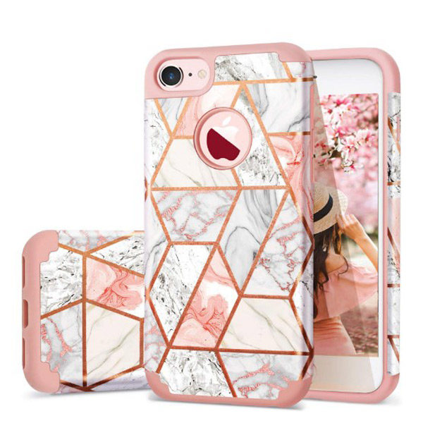 Front, Back and Side View - Fingic iPhone 7/8 Rose Gold Marble Design Case