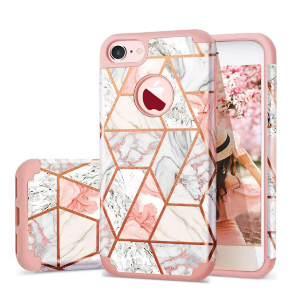 Fingic iPhone 7/8 Rose Gold Marble Design Case