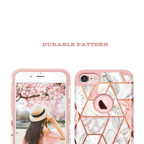 Front/Back View - Fingic iPhone 7/8 Rose Gold Marble Design Case