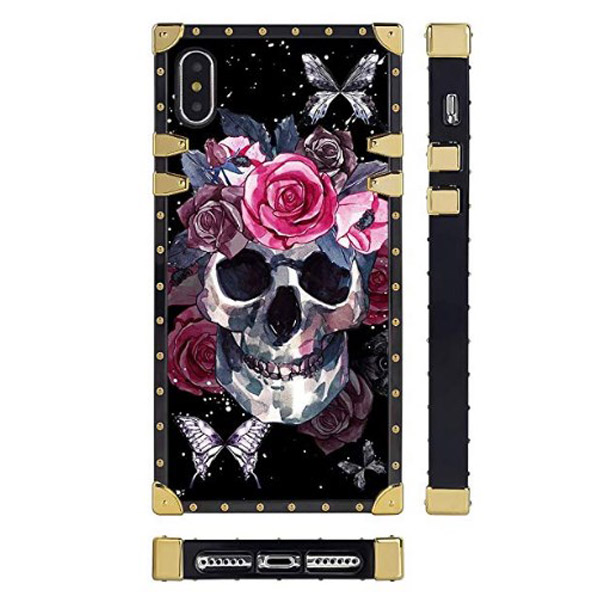 iPhone XS/X Luxury Skull Rose Butterfly Case