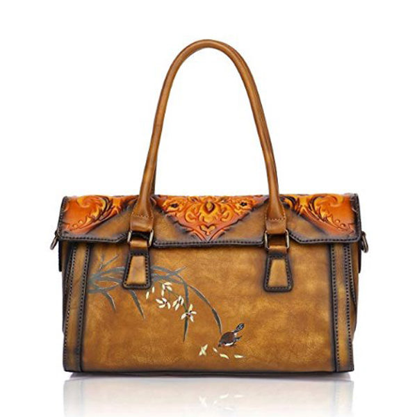 Front view of leather handbag