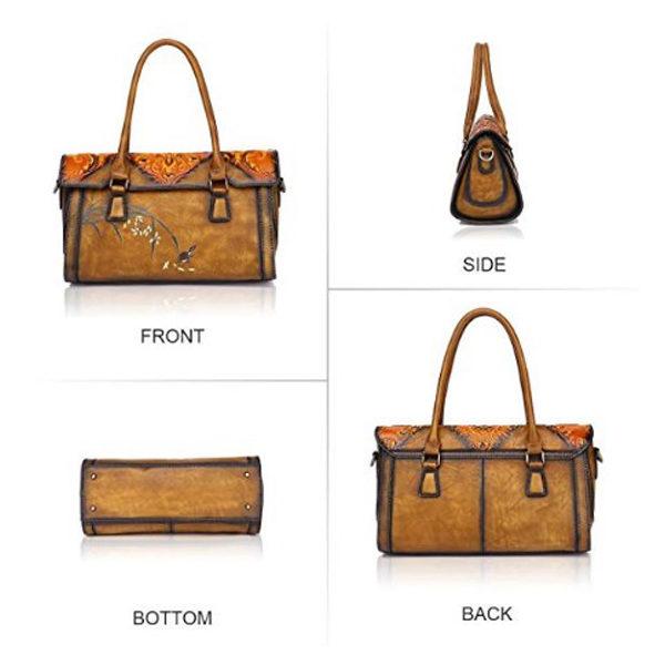 Front, Side, Bottom, Back of leather bag