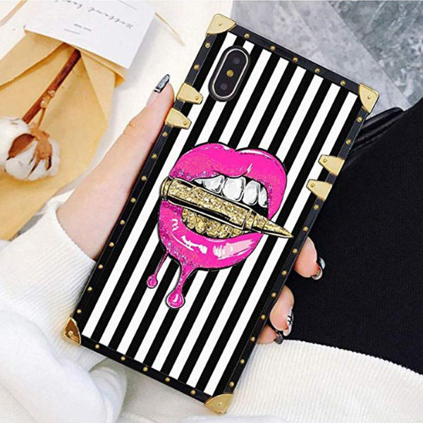 Front View - iPhone XS/X Pink Lips in Bullet Luxury Elegant Cover