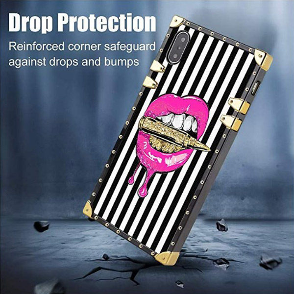 Side View - iPhone XS/X Pink Lips in Bullet Luxury Elegant Cover