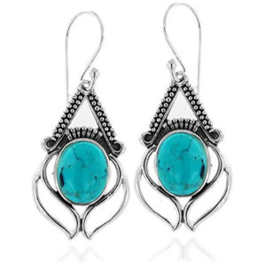 Sterling silver front view of earrings